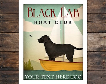 CUSTOM PERSONALIZED Lab Labrador  Dog Boat Sailing Club Golden Retriever Print Signed Free Customization