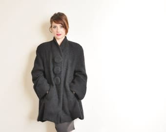 mod black boucle coat with JUMBO buttons . stunning vintage winter jacket .medium.large