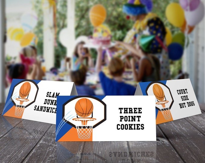 Basketball Food Labels - Basketball Party, Basketball Birthday, ,Table Tent, Place Cards, All Star,Blue | DIY Instant Download PDF Printable