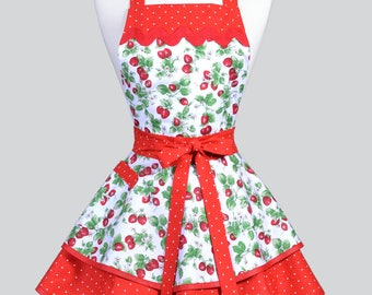 Womens Ruffled Retro Apron - Red White Strawberry Fields Womans Vintage Style Pinup Kitchen Apron with Pocket to Personalize or Monogram