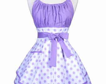 Womens Flirty Chic Apron - Lavender Polka Dots on White Cute and Sexy Vintage Pinup Kitchen Cooking Apron with Pocket and Full Skirts (DP)