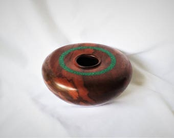 Hand Turned Wood Vessel - Claro Walnut and Malachite - Hollow Form