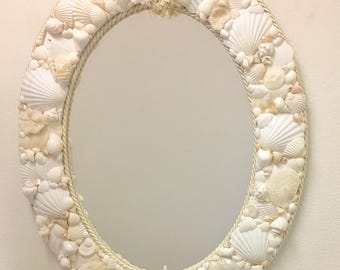 "Seashell Mirror - 24"" x 30"" - with optional Cording - beach decor coastal sea shell nautical"