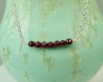Garnet and Silver Necklace / Stone of Health / Sacred Stone Necklace / Wiccan Sacred Stone Necklace / Gemstone Bar Necklace