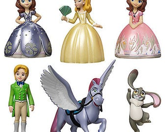 Sofia the First CAKE TOPPER PVC Figure Set - Birthday Party Cupcakes Figurines