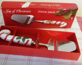 FW Woolworth Joy of Christmas Holly Stainless and Ceramic Cheese Plane Slicer