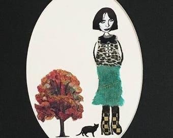 girl woman black cat portrait animal art pet mixed media pet collage leopard