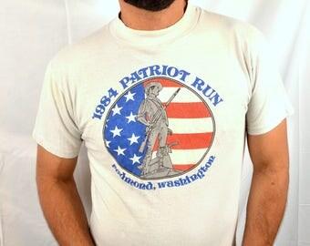 Vintage 80s 1984 Patriot Run Washington Tee Shirt Tshirt