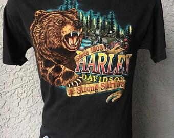 Harley Davidson Motorcycles 1980s black vintage tee shirt The Strong Survive - size medium