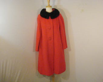 Red Wool Rosenburgs Coat A Line Swing Style with Real Mink Fur CollaVintage 60s XL XXL