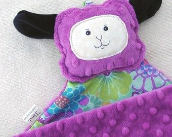 Lamb Sheep Lovey Lovie Blanket - Raspberry Pink Minky - Kaffe Floral Cotton - Gentle Rattle Sound - Comfort Blanket Stuffed Lamb