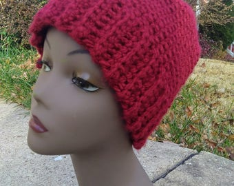 Classic Slightly Slouchy Crochet Beanie Winter Hat