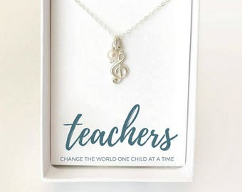 Music Teacher Necklace - Piano Teacher Gift - Band Teacher Gift - Silver Music Necklace - Music Teacher Appreciation Gift - Music Necklace