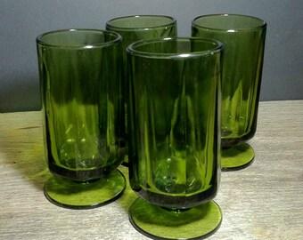Vintage Dark Green Glass Pedestal Tumblers Set of 4 / Brutalist Style Dark Green Footed Glass Tumblers Set of 4 / Mid Century Wedding Gift