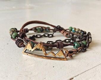 Rustic Mountain boho wrap bracelet // distressed leather // original handmade bohemian jewelry style // adventure spirit // nature outdoors