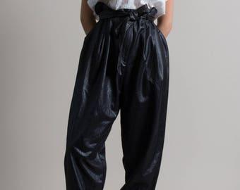 Vintage 80s Black Paper Bag Trousers | L