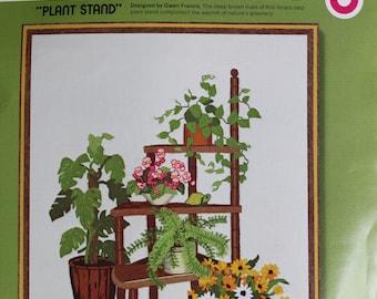 Vintage Sunset Stitchery Crewel Embroidery Kit Plant Stand Gwen Francis 16 x 20 Frame Art Retro Home Decor