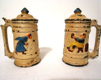 Vintage Salt & Pepper Shakers Cast Iron Beer Drinking Husband and Angry Wife 1940s