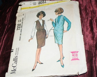vintage pattern McCalls 7232 womans jumper blouse pattern size 14 1964