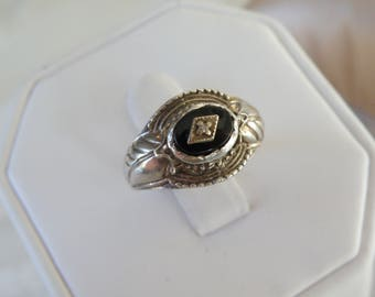 Vintage Southwestern Style Sterling Silver Onyx Diamond Accent Feather Blossom Mens Womens Ring Size 9
