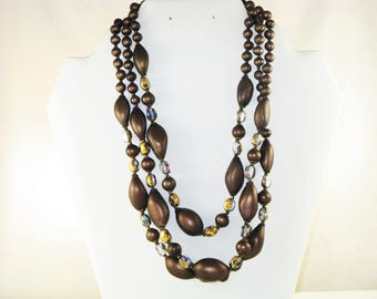 Vintage Brown Satin Glass and Crystal Triple Strand Necklace (N-2-1)