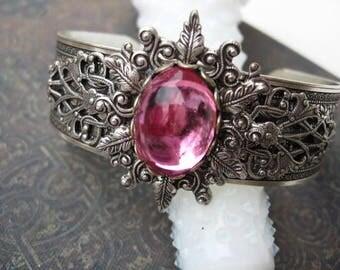 Cuff Bracelet -  Swarovski Pinkn cuff Bracelet - B212