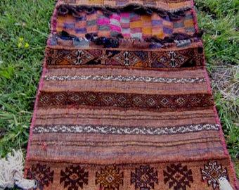 "Superb 4 ft 1"" x 1 ft 11 ""  Tribal Khurjeen Saddle Bag. Hand Woven. Kilim. Cushions/pillows."