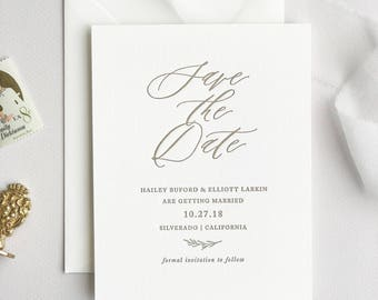 Letterpress Save the Date- Sonoma design; letterpress, foil