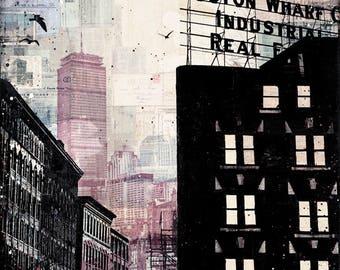 Cloud Cover No. 1 | Boston Art Print | Abstract Boston Skyline | Mixed Media Boston Art | 8x10 Art Print |