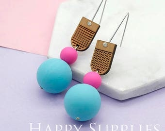 1 Pair (SBW04) Silicone Balls Laser Cut Geometric Wooden Dangle Earrings - HEW Series - Ocean Sea Summer Beach