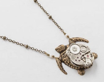 Turtle Necklace, Steampunk Necklace, Gold Turtle Pendant with Vintage Silver Watch Movement and Genuine Pearl on Beaded Chain, Jewelry Gift