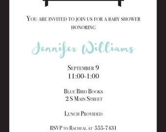 Bookshelf Baby Shower Invitation - Printable PDF or Email Evite
