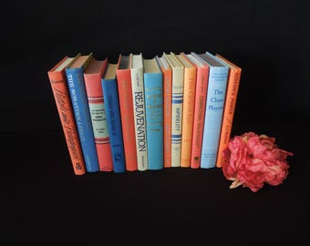 Beige, Blue and Coral - Books by the Foot - Colorful Books for Decor - Vintage Book Stack - Bookshelf Decoration