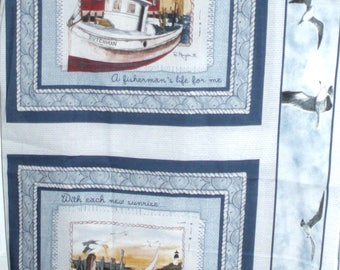 "SHIPS PILLOW PANELS-Cotton Fabric - One yard x 42"" wide -"