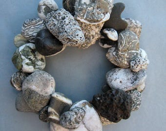 Gray Black and White Rock Wreath or Candle Ring–RW364