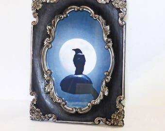 Victorian Gothic Frame - Upcycled Frame 5 x 7 - Decorative Frame and Print - Crow Art - Digital Art Print - Framed Art Print