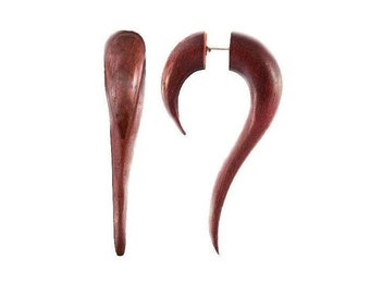 Maui Rose Wood Fake Stretcher Earrings, Fake expander, Fake gauges, Fake expander, Fake ear stretcher, Split hooks, Faux piercing, Tribu