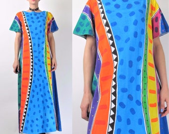 80s 90s Artsy Abstract Print Dress Hand Painted Dress Art To Wear Dress Bright colorful Polka Dot Stripes Maxi Long Tshirt Dress (L) 8090