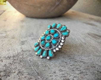1940s Old Pawn petit point turquoise ring size 6 to 7, Native American ring, turquoise jewelry, Indian jewelry, Navajo ring, Zuni jewelry