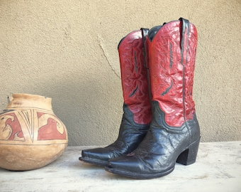Dan Post two-tone black and red cowboy boots Women's size 9 M high heel snip toe cowgirl boots