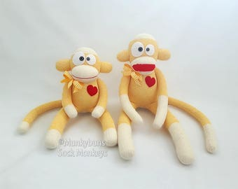 Traditional Yellow Rockford Red Heel Sock Monkey Doll - Embroidered Name Included in Price!