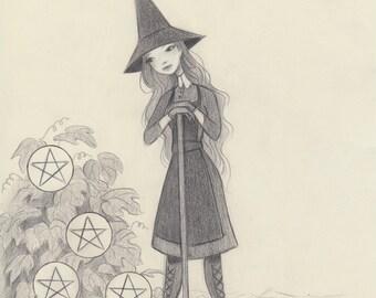 Tarot - 7 of Pentacles - Original Drawing