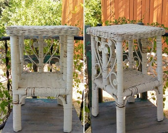 """Cute Small Vintage Shabby Chippy Chic Peacock Design Wicker Plant/Telephone Side Table with Shelf measuring 20.5"""" x 12"""" x 12"""" ~ Boho Decor ~"""