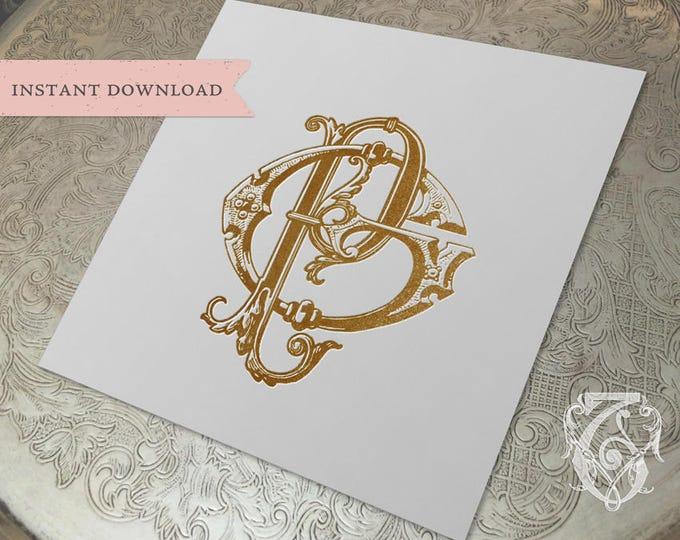 Vintage Wedding Monogram GP PG Digital Download G P
