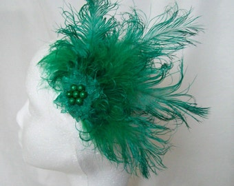 Emerald Green Ostrich Feather and Pearl Vintage Roaring 20s Gatsby Style Hair Clip Fascinator Headpiece- Made to Order