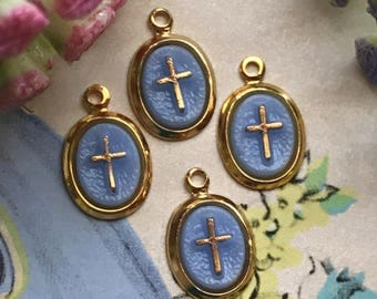 Vintage cross Charms, Cross charms, Gold Cross Charms, Czech Glass,Blue cross, Dangles Drops Connectors Findings Religious #1258M