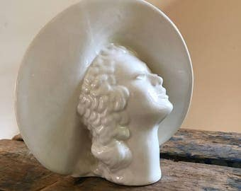 50s Lady Head Vase USA White Porcelain Planter Functional Figurine Midcentury Kitsch Stylized Features