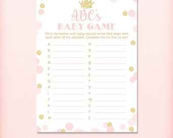 Pink and Gold Princess ABC's Baby Shower Game, Royal Princess Baby Shower ABCs, Glitter - PRINTABLE INSTANT DOWNlOAD