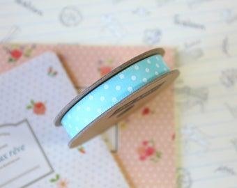 Duck Egg Blue & White Polka Dots grosgrain ribbon