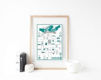 McKinney, Texas Green/Gray Premium Art Print - 8x10 or 11x14 Art Print